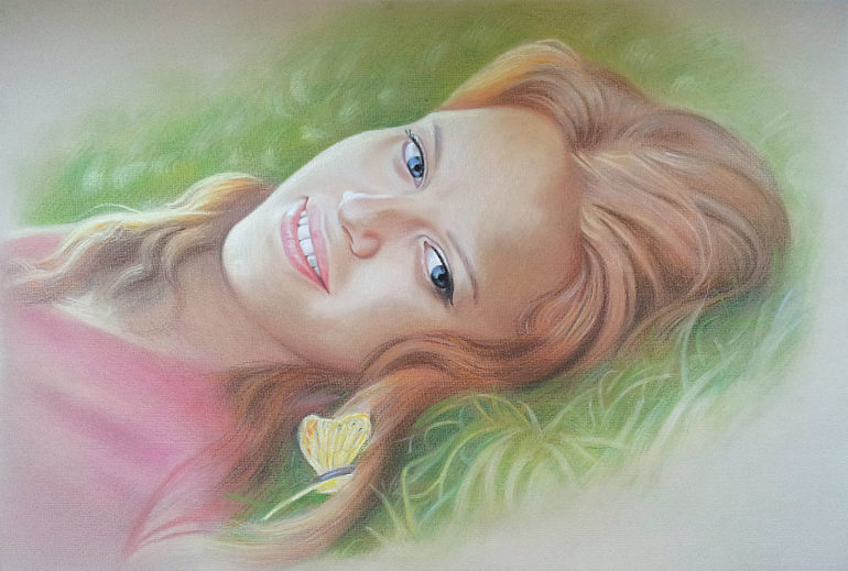 Настоящий портрет пастелью для любимой девушки в Уфе, просто и со вкусом!
