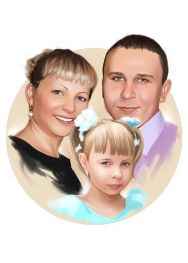 Семейный портрет по фото на холсте в Уфе — правильный подарок!