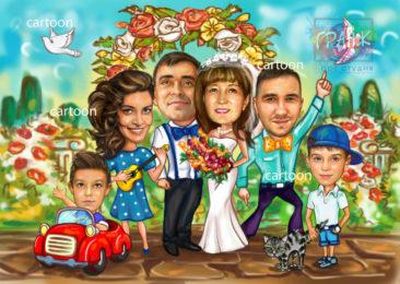 Шарж по фото на годовщину свадьбы на заказ в Уфе…